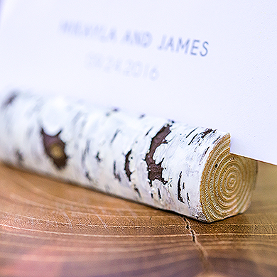 faux birch log card holder from Real Brides Wedding Essentials
