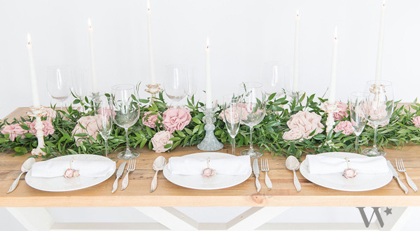 DIY fabric flower table runner by Real Brides Wedding Essentials
